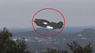Cận cảnh đĩa bay UFO khổng lồ đang cố gắng hạ cánh trong rừng được người dân ghi lại