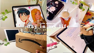 Day in my life 🌥🎨 | working on commissions, amazon unboxing + sketching
