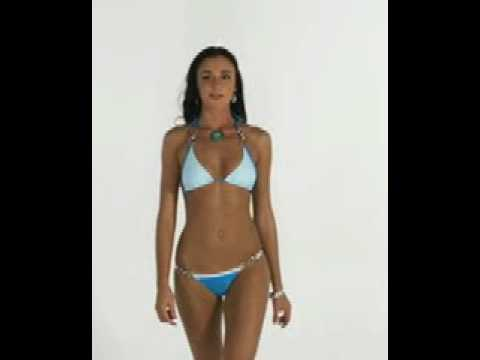 Slim athletic model wears Brazilian bikini Riscadinho
