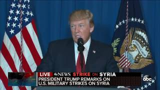 Trump delivers statement following US military strike on Syria