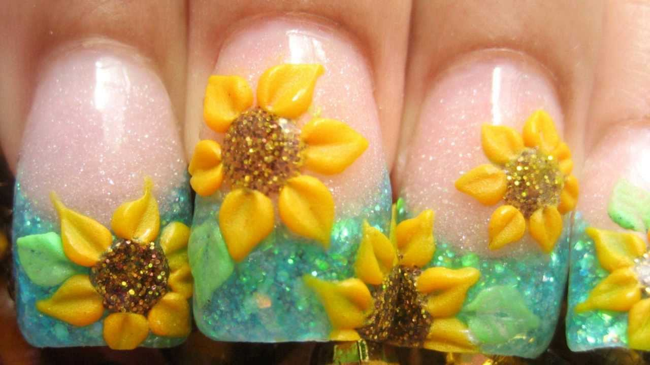 My Sunflower Field Acrylic Nails Tutorial With 3d Yellow Flowers And Blue Glitter Youtube