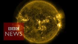 Solar flares: Footage released by Nasa - BBC News