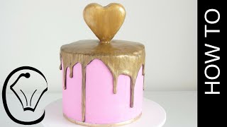Gold Heart Chocolate Drip Pink Cake by Cupcake Savvy's Kitchen