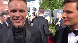 Benj Pasek, Justin Paul ('Greatest Showman') Golden Globes 2018 red carpet exclusive interview