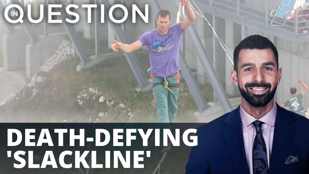 Death-defying 'slackline' athletes take on Swiss Alps