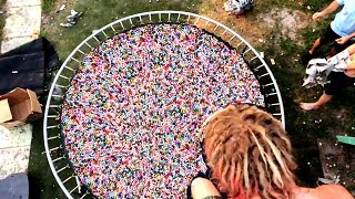 TRAMPOLINE VS 10,000 BOUNCY BALLS!! **Most Painful Yet** | JOOGSQUAD PPJT