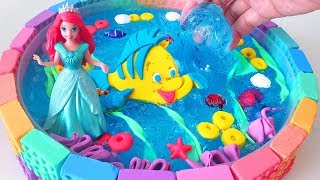 How to make Mermaid Sea with Slime & Play-Doh Flounder & Mad Mattr Bricks - CLAY ART TV