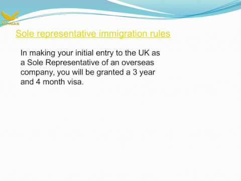 Sole representative visa guidance