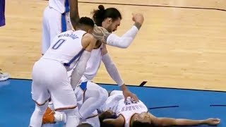 Russell Westbrook & Steven Adams Check on Terrance Ferguson's Injury After Knocking Him Out!