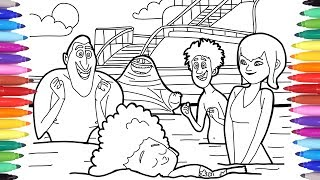 Hotel Transylvania 3 Summer Vacation, Dracula Dennis Mavis in the Swimming Pool Coloring Pages