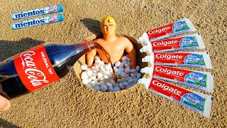 EXPERIMENT !!! Stretch Armstrong VS Underground and Tooth paste, Coca Cola, Sprite and Mentos
