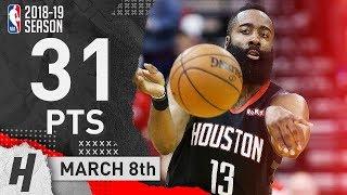James Harden Full Highlights Rockets vs 76ers 2019.03.08 - 31 Pts, 10 Reb, 7 Assists!