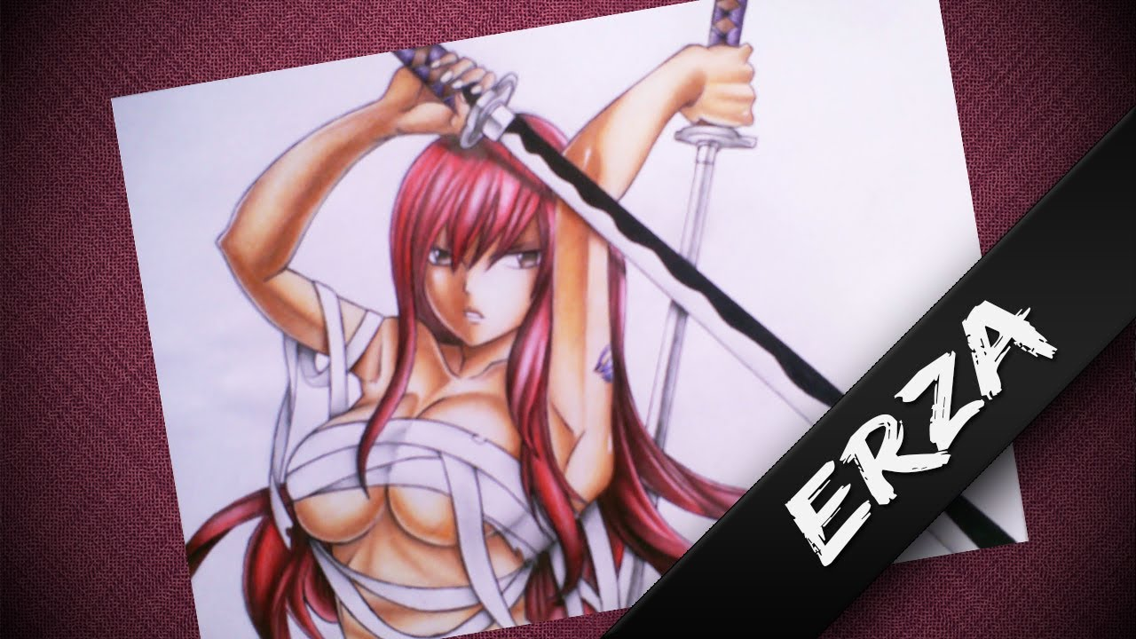 Speed Drawing - Erza Scarlet (Fairy tail) - YouTube