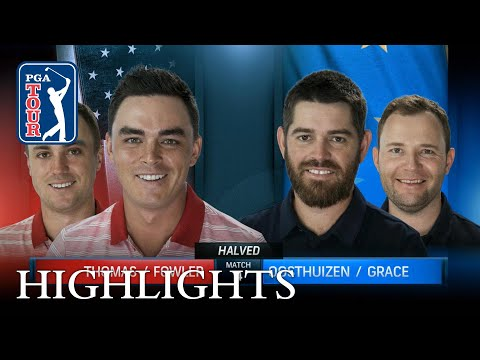 Highlights from Thomas and Fowler's halved match with Day and Leishman
