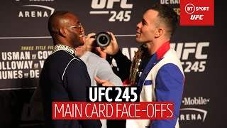 The UFC 245 face-offs were TENSE | Usman vs Covington, Holloway vs Volkanovski, Nunes vs de Randamie