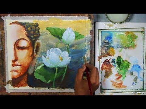 Lord Buddha Abstract Painting in Acrylic | step by step