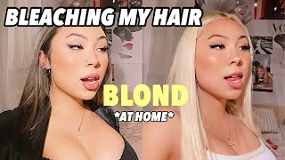 bleaching my hair in quarantine! *black to blonde*