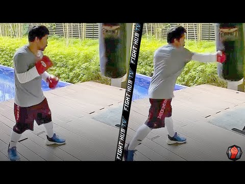 MANNY PACQUIAO THROWING LEFT HAND MISSILES ON HEAVY BAG! SPEED ON POINT DURING AT HOME TRAINING!