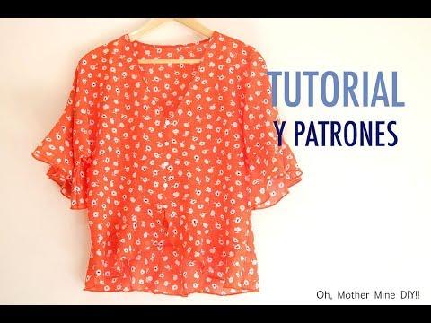 Costura: Blusa asimétrica con volantes para mujer (patrones gratis)