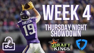 NFL DFS Week 4 Thursday Night Football lineup strategy for FanDuel and DraftKings showdown