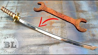 Forging a KATANA out of Rusted Giant WRENCH