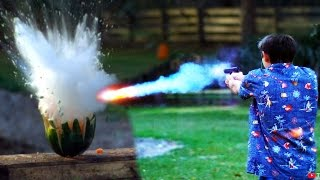 Shooting Watermelons with 'Exploding'  Sodium Bullets!