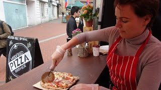 """Delicious Italian Street Food by """"Woodfired Pizza Handmade"""" on a mobile cycle oven in Reading Market"""