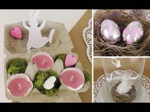 diy osterdeko mit schlagmetall eiern und teelichtern in. Black Bedroom Furniture Sets. Home Design Ideas