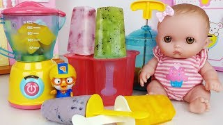 Baby doll fruit Ice Cream bar maker cooking and refrigerator toys play - 토이몽