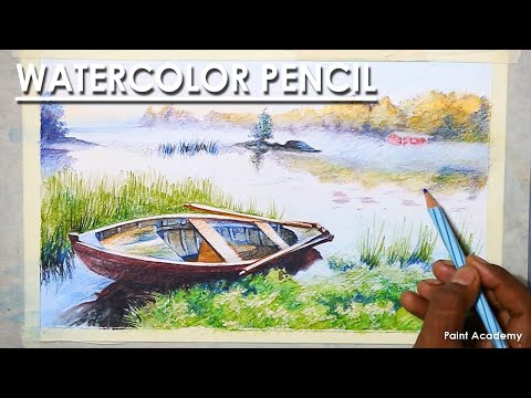 Watercolor Pencil : A Composition on Boat Landscape | step by step