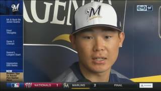 Keston Hiura takes batting practice with future Brewers teammates