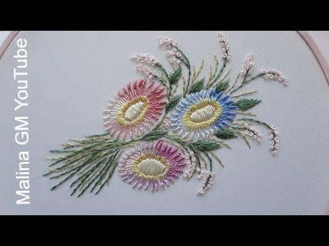 Knotted Lazy Daisy stitch   Brazilian Flowers   tutorial #shorts