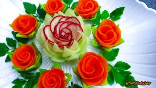 Attractive Garnish of Radish & Carrot Rose Flowers with Onion & Cilantro Designs