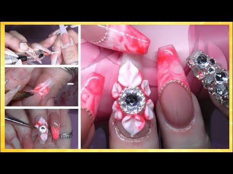 Pink Acid Wash Acrylic Nails with Chain & 3D Flower | ABSOLUTE NAILS