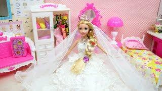 Princess Rapunzel Wedding Day! Barbie Wedding Dress Vestido de novia princesa