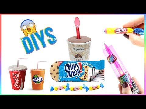 5 DIY School Supplies {Easy}! Weird DIY Crafts – Hacks w/ Candy! Mini Notebook, Pens…Cool DIYs