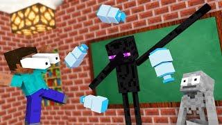 Monster School : FUNNY BOTTLE FLIP Challenge - Minecraft Animation