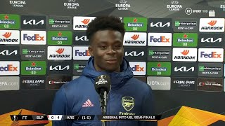 """""""We did it for all the fans"""" Bukayo Saka overjoyed to progress to the Europa League semi-finals"""