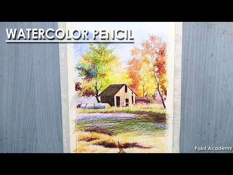 Watercolor Pencil Landscape- A Barn in the Meadow