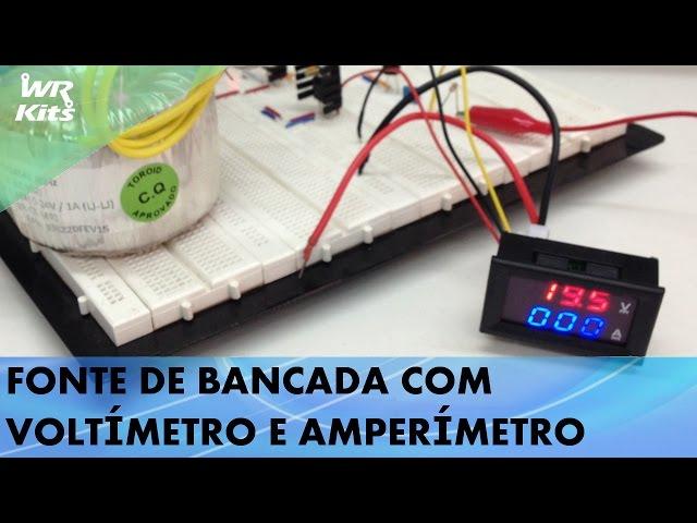 FONTE DE BANCADA 1,5A COM VOLTÍMETRO E AMPERÍMETRO