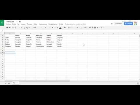 Transponer datos en una hoja de calculo de Google Drive