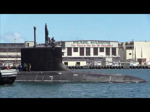 USS Missouri fast-attack submarine departs Pearl Harbor Naval Shipyard for sea trials