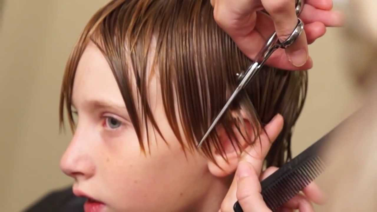 Boys Medium Length Side Swept Hair Cut Done 95 With A