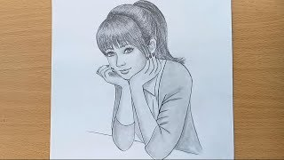 How to draw a girl step by step / Pencil Sketch drawing