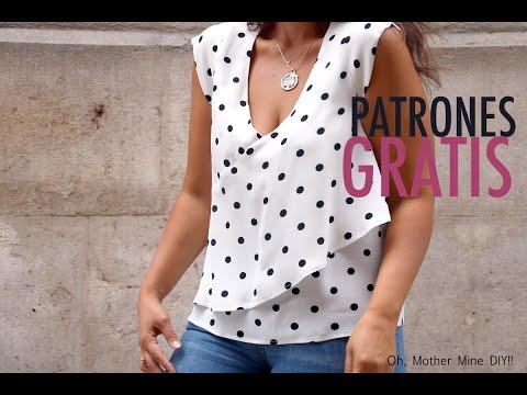 Patrones y costura: Blusa de mujer con volante cruzado