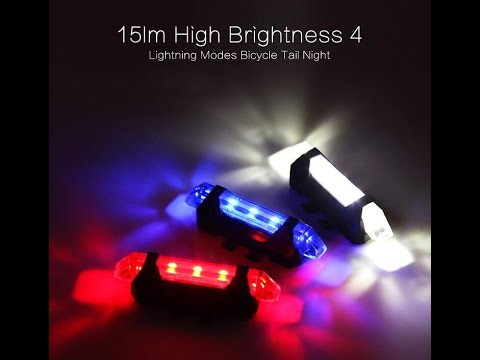 Rechargeable LED Bicycle Tail Light 15lm High Brightness 4 Lightning Modes -TVC Mall