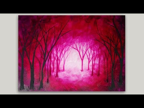 Surreal Forest Acrylic Painting Magenta Trees Painting #StudioSilverCreek