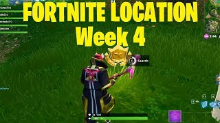 Search Between A Gas Station, Soccer Pitch, And A Stunt Mountain - Week 4 FORTNITE LOCATION