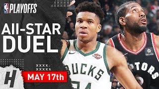 Giannis Antetokounmpo vs Kawhi Leonard Game 2 Duel Highlights 2019 NBA Playoffs ECF - 61 Pts Total