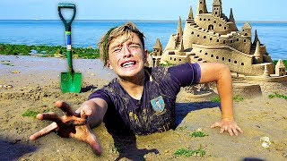 I Spent the Night in a Sandcastle & It was a HUGE Mistake... (24 Hour Challenge)
